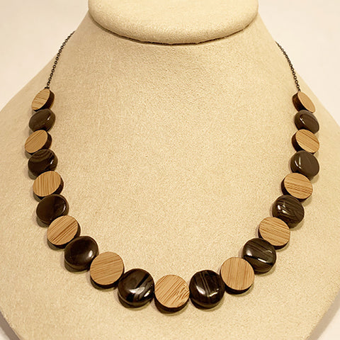 Beech Discs Necklace with Stones by Allison Johnson