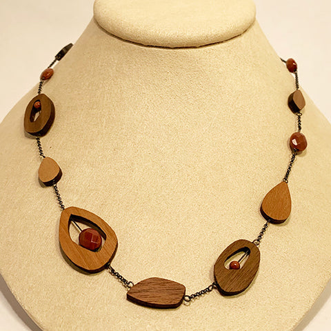 Goldstone, Walnut, and Cherry Necklace by Allison Johnson