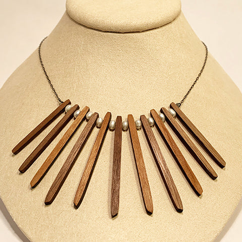 Pearl and Walnut Sticks Necklace by Allison Johnson