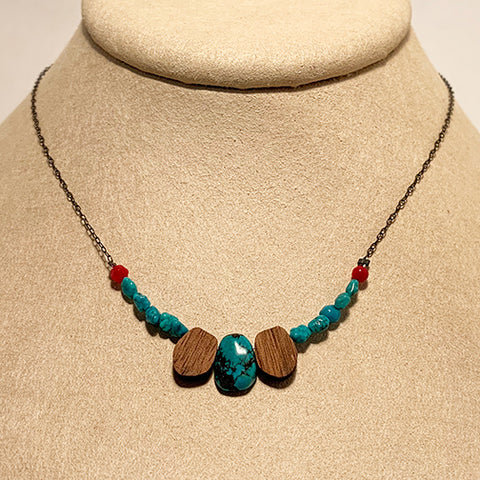 Turquoise, Walnut, and Coral Necklace by Allison Johnson