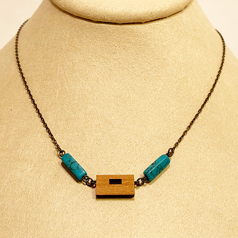 Small Turquoise and Walnut Necklace by Allison Johnson