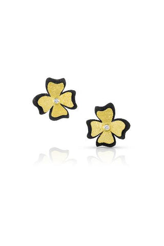 18k Gold, Oxidized Sterling Silver and Diamond Flower Earrings by Alishan Halebian