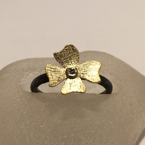 18k Gold, Oxidized Sterling Silver and Diamond Flower Ring by Alishan Halebian