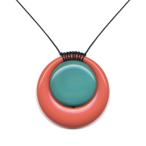 Coral and Turquoise Circle Necklace by I. Ronni Kappos