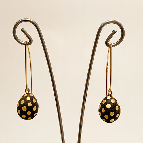 Ladybug Teardrop Porcelain Earrings by Mier Luo