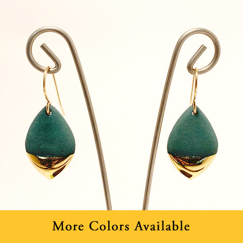 Gold Dipped Marquis Porcelain Earrings by Mier Luo