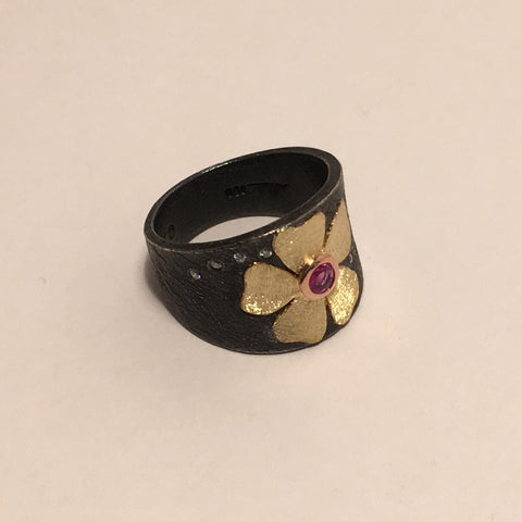 18k Gold, Oxidized Sterling Silver, Pink Sapphire and Diamond Flower Ring by Alishan Halebian