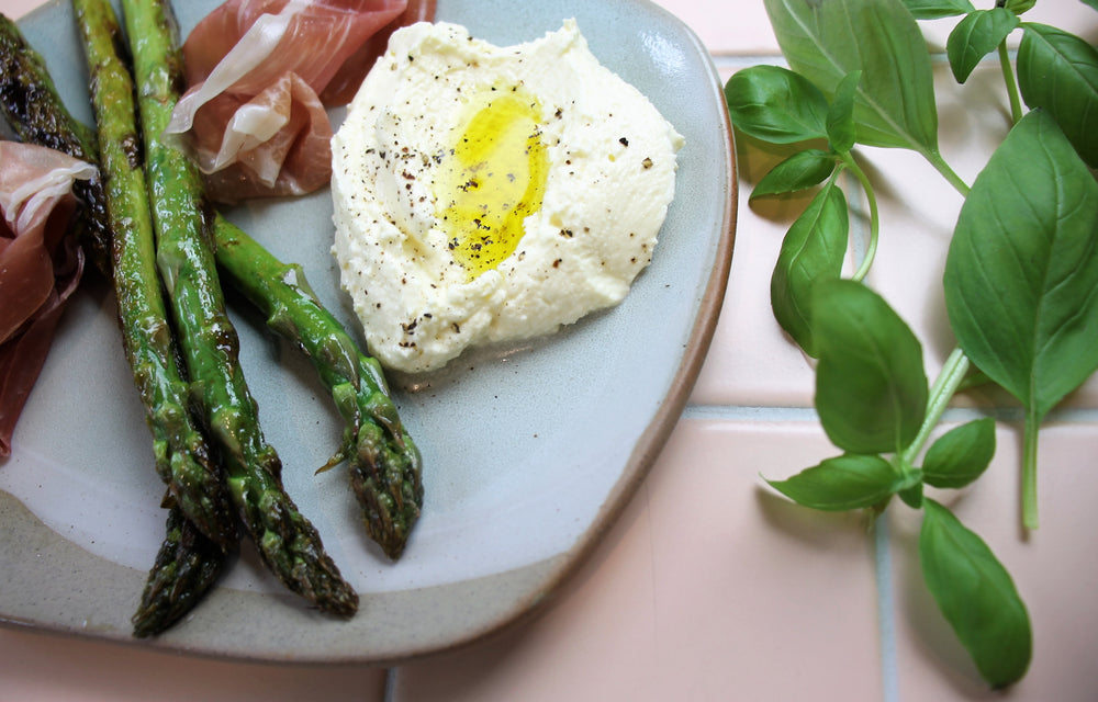 Char Grilled Asparagus with San Dan Prosciutto & Whipped Ricotta