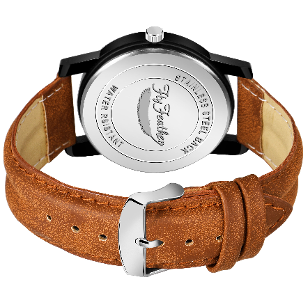 Fly Feather Unique &  Analogue Watch Black and Orange Print Multicolour Dial Leather Strap