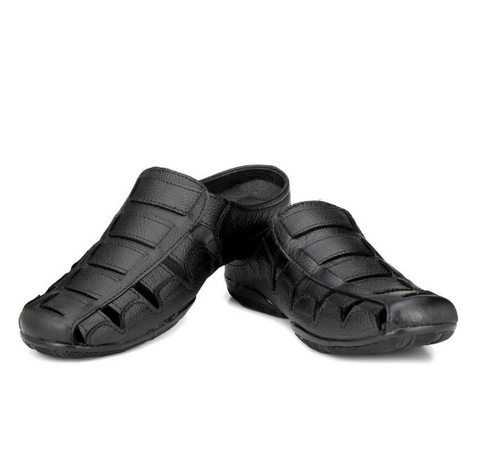 buy Black leather sandals