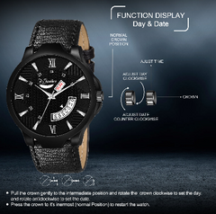 Fly Feather Unique & Premium Analogue Watch with black Dial Leather Strap (Watch 13)