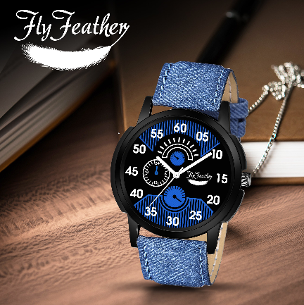 Fly Feather Unique & Premium Analogue Watch Denim Blue Print Dial Leather Strap (Watch1)