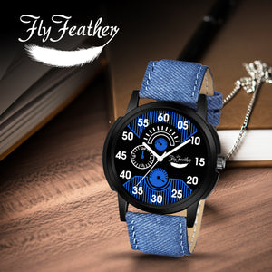 Fly Feather Unique & Premium Analogue Watch Denim Blue Print Dial Leather Strap (Watch1) - Shopping With Deals