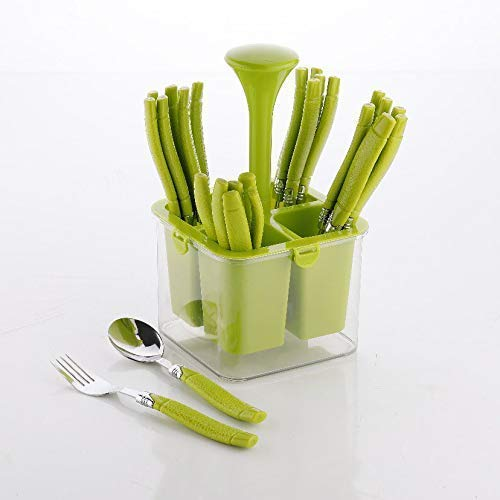 Stainless Steel Cutlery Set with Storage Box/Spoon Set/Spoon Stand for Kitchen and Dining (24 Pieces - Green)