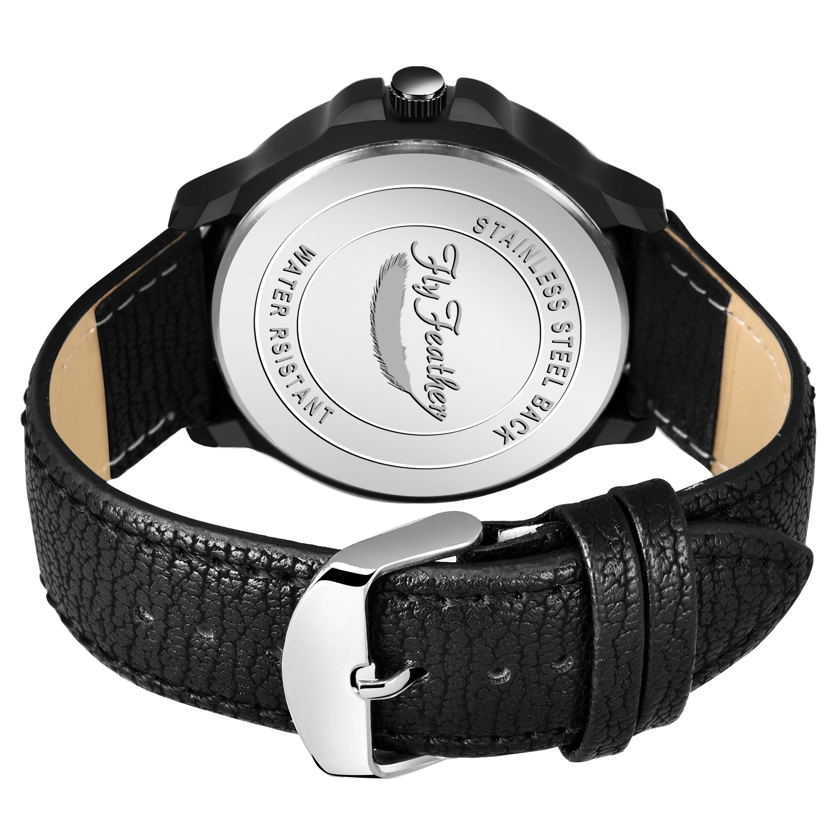 Fly Feather Unique & Premium Analogue Watch with black Dial Leather Strap (Watch 13) - Shopping With Deals