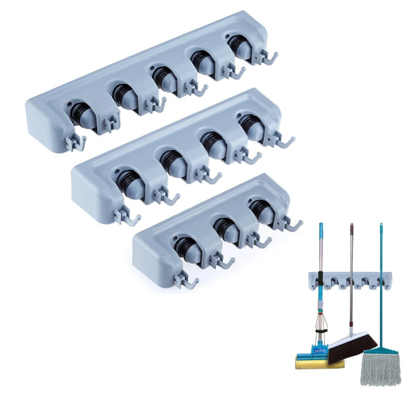 Multipurpose Wall Mounted Organizer Mop And Broom Holder Organizer with 5 Slots and 6 Hooks