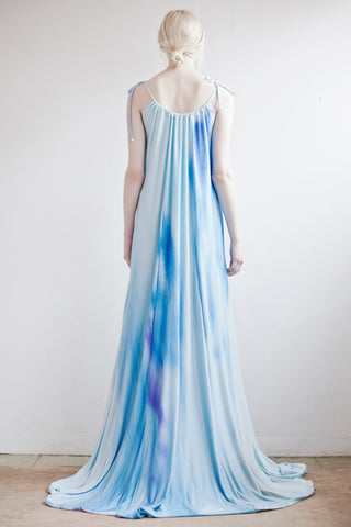Pastel Blues in a wave pattern on our silky gown