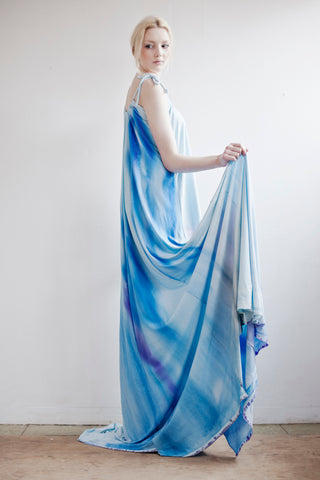 A loose maxi in pastel blue wave print