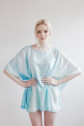 Powder Blue Silk and Bamboo Blouse