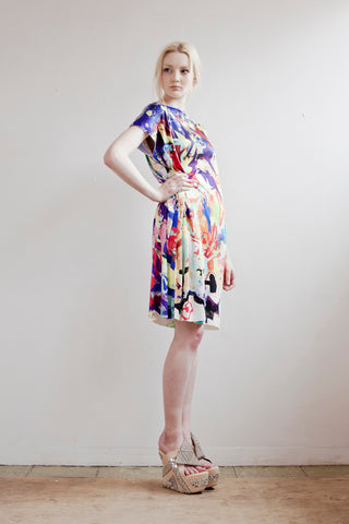 Bright, bold, colourful and painterly dress in silk