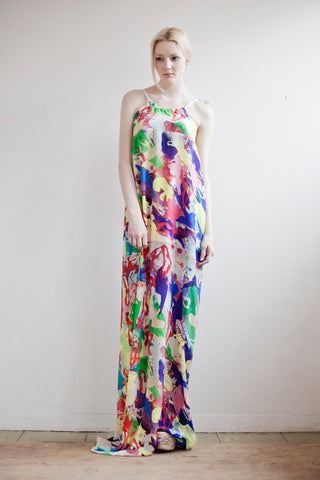 Painterly colourful dancing print in our silk maxi