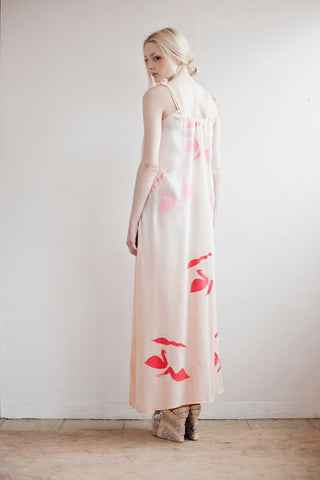 Muted nudes and pinks in our silk swan maxi