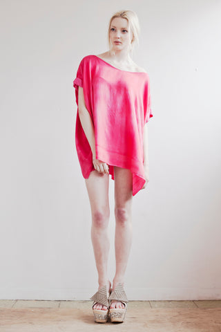 Hot Pink Silk and Bamboo Blouse