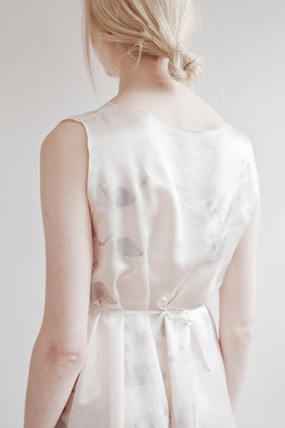 Silver Swan  Silk Shift Dress