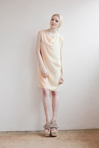 Pastel soft yellow silk shift dress