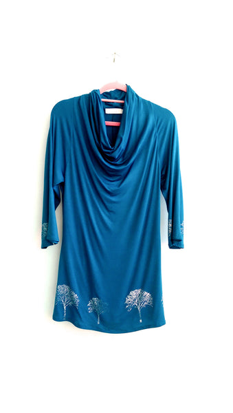 Teal Draped Oak Tree Tunic