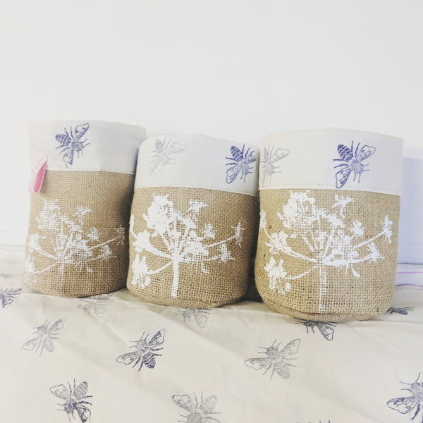 Set of three small hessian pots with bee print