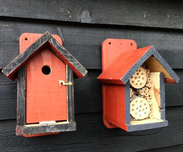 Terracotta Bee Hotel 🐝 & Bird Box 🐦 Set