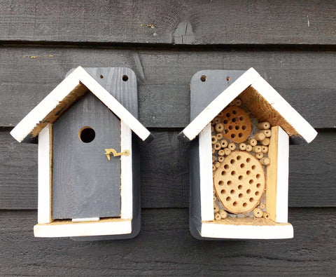 Charcoal Bird Box 🐦 and Bee Hotel 🐝