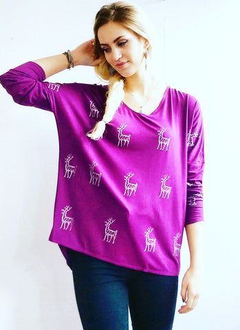 Purple Stag Silky Top
