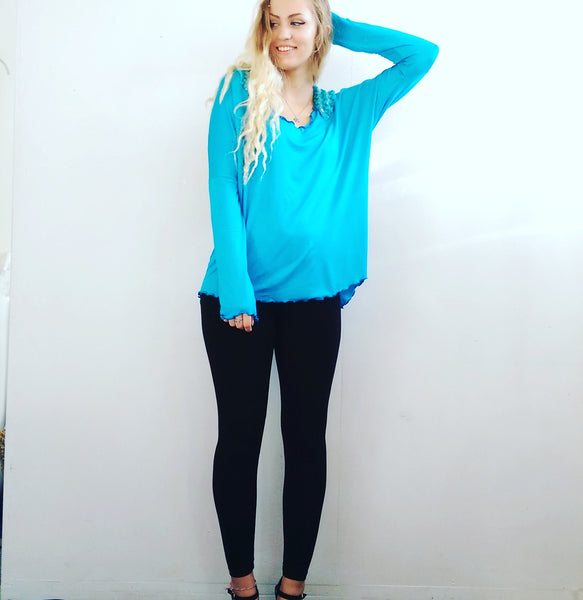 Turquoise Blue Batwing Tunic with Tinsel Lace Sparkles
