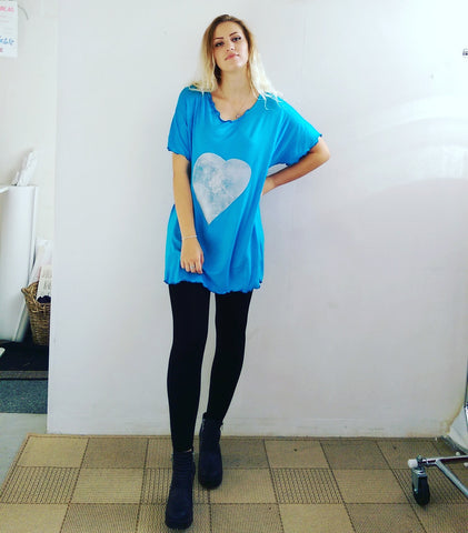 Turquoise Silver Heart Long Tee