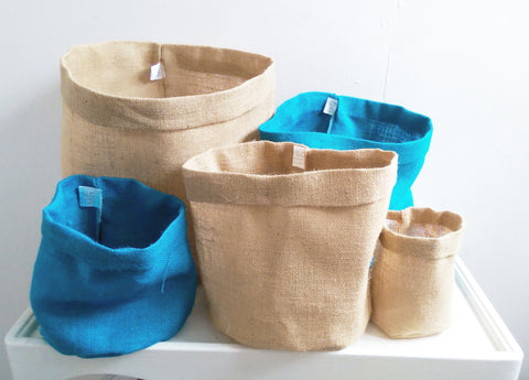 Set of 5, Biscuit & Turquoise Hessian Eco Pots