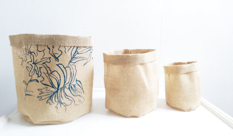 Set of 3 Small Set, Eco Hessian Pots