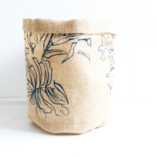 Hessian Eco Pot, Kew Garden Print