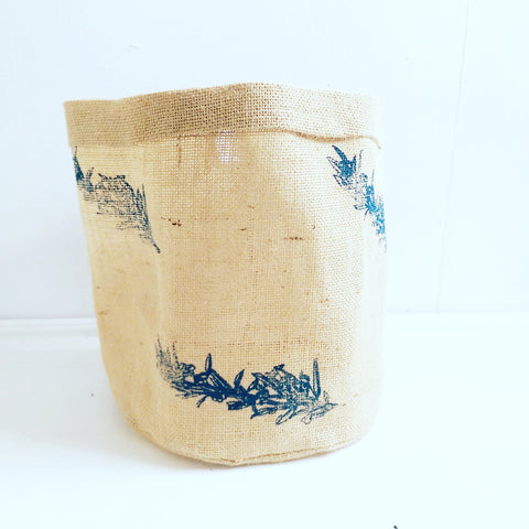 Hessian Eco Pot, Berries Print