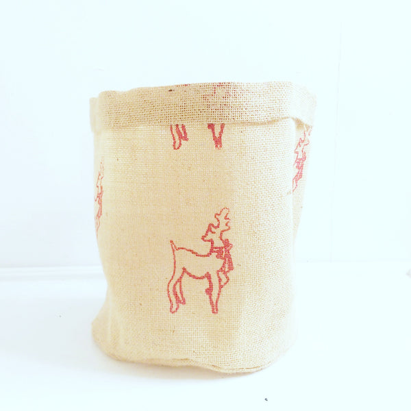 Hessian Eco Pot, Reindeer Print