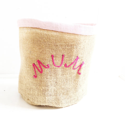 Hessian Eco Pot, Embroidered, MUM