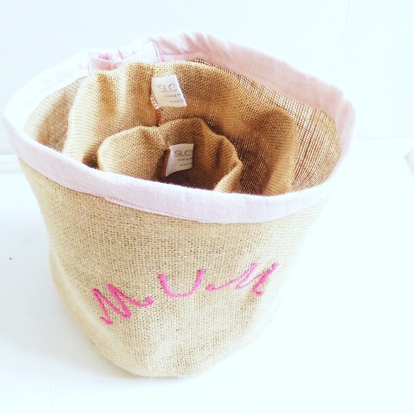 Hessian Eco Pot, Embroidered, BEE FRIEND