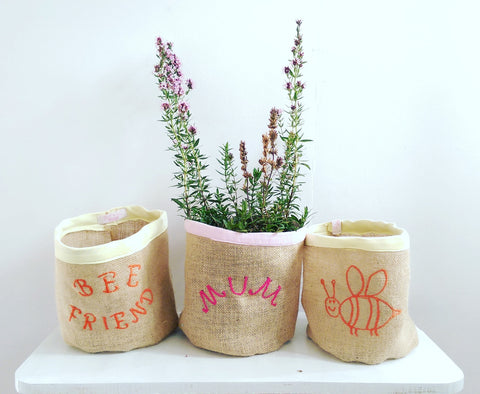 Hessian Eco Pot, Set of 3, Embroidered