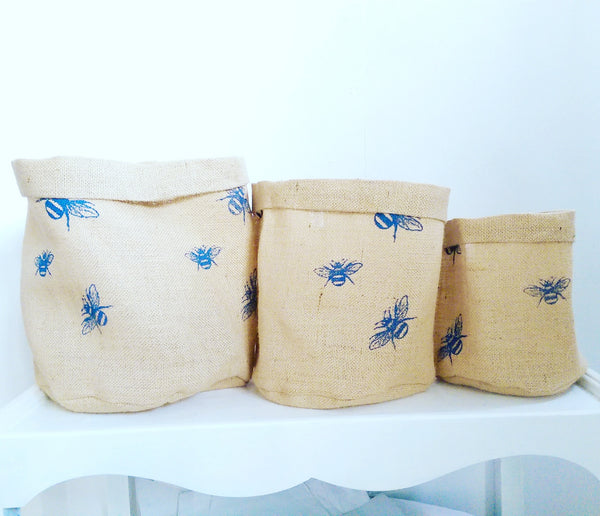 Hessian Eco Pot, Bumble Bee Print