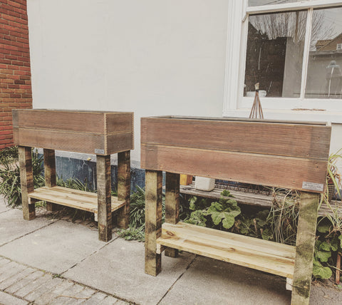 Hardwood High Planters in Reclaimed Wood