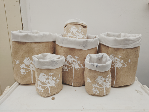Flower Lined Hessian Pot