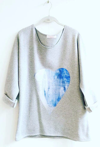 Blue Wave Heart Jumper