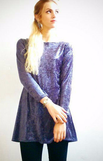 Crushed Silver Velvet Tunic