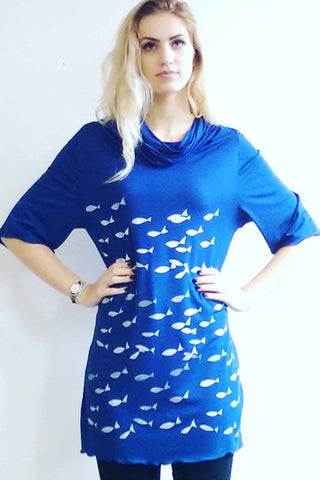 French Navy Silver Fish Draped Top
